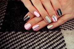 Natural nails, gel polish. Stylish Nails, Nailpolish. Stock Photos