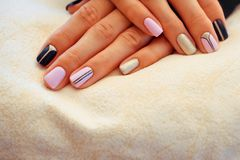 Natural nails, gel polish. Stylish Nails, Nailpolish. Natural nails, gel polish. Nail art design for the fashion style Stock Photos