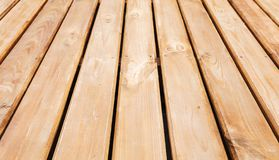 Natural new wooden floor. Background. Photo with perspective effect and selective focus stock photography