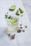 Natural nonalcoholic cocktail with herbs and cut lime on stone desk background. Natural nonalcoholic cocktail with herbs and cut lime for summer party on stone Stock Photography