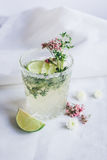 Natural nonalcoholic cocktail with herbs and cut lime on stone desk background. Natural nonalcoholic cocktail with herbs and cut lime for summer party on stone Stock Photo