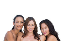 Natural nude women leaning on the center womans shoulders Stock Photos
