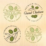 Natural olive oil labels. Royalty Free Stock Photography