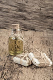 Natural olive oil soap bars and oil bottle on wooden table Stock Photography