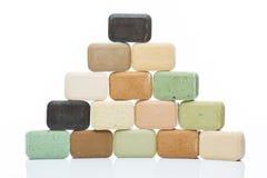 Natural olive soap bars pyramid Stock Photo
