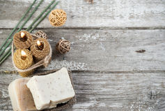 Natural olive soap and honey candles stock images