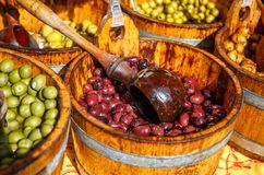Olives. Natural Olives placed on different categories Royalty Free Stock Photos
