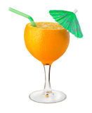 Natural orange juice. Photomontage of wine glass and orange - concept of health food Stock Photography