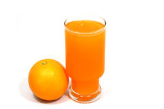 Natural  orange  juice  in  glass. On white  background Royalty Free Stock Images