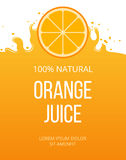 Natural orange juice label template Stock Photo