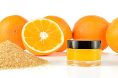 Natural orange sugar lip scrub on white. Stock Images