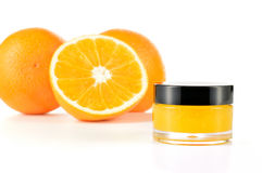 Natural orange sugar lip scrub on white. Stock Image