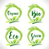 Natural Organic Bio Badge Logo Vector Stock Images