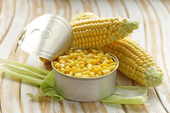 Natural organic canned corn royalty free stock photos