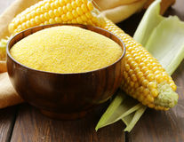 Natural organic corn grits and cobs Stock Photography