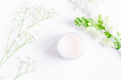 Natural organic cosmetics for baby on white background top view. Natural organic cosmetics for baby with herb on white background top view Royalty Free Stock Photos