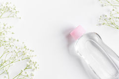 Natural organic cosmetics for baby on white background top view Stock Photo