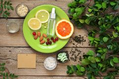 Natural organic cosmetics and greenery stock photos