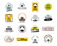 Natural organic cotton vector labels. Natural organic cotton, pure cotton vector labels set. Hand drawn, typographic style icons or badges, stickers, signs Royalty Free Stock Images