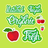 Natural Organic Eco Food Stickers Set Healthy Lifestyle Label Collection Stock Image