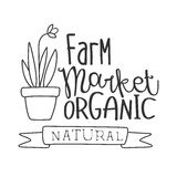 Natural Organic Farm Market Black And White Promo Sign Design Template With Calligraphic Text Royalty Free Stock Photography