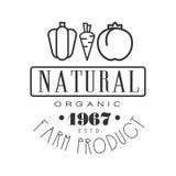 Natural organic farm product estd 1967 logo. Black and white retro vector Illustration Royalty Free Stock Photo