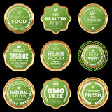 Natural and Organic Food Badges. Set of natural and organic food badges Stock Images