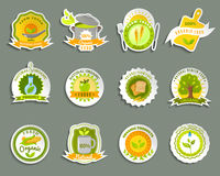 Natural organic food brands stickers set. Healthy food from ecological organic naturally grown high quality fresh products stickers set abstract  vector Royalty Free Stock Images