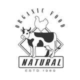 Natural organic food estd 1969 logo. Black and white retro vector Illustration Royalty Free Stock Images