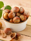 Natural organic hazelnuts in a bowl Royalty Free Stock Image