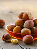 Natural organic hazelnuts in a bowl Royalty Free Stock Photo