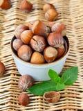 Natural organic hazelnuts in a bowl Stock Photos