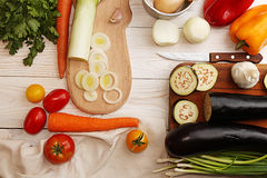 Natural organic homegrown vegetables for cooking dinner Royalty Free Stock Images