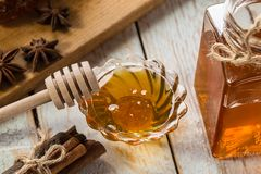 Natural organic honey  on rustic  table Royalty Free Stock Photo