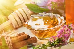 Natural organic honey  on a wooden table. toned photo Stock Image