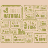 Natural Organic Labels and Badges, Vector Royalty Free Stock Photography