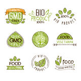 Natural Organic Labels, Vector Illustration Set in Royalty Free Stock Images
