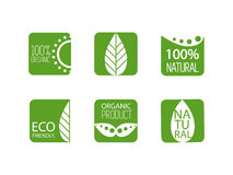 Natural organic labels. Vector illustration. Set of different green badges. Bio, natural, organic, eco. Green stickers. Stock Images