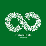 Natural and organic life. Vector eco organic emblem logo design template. Eco green concept of natural products. Infinity of leave Royalty Free Stock Images