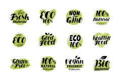 Natural, organic logo or label. Eco set badges. Lettering vector. Isolated on white background royalty free illustration