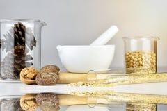 Natural organic medicine and healthcare, Alternative plant medicine. royalty free stock photos