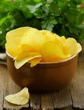 Natural organic potato chips Royalty Free Stock Image