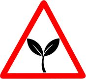 100% natural, organic product, ecology, nature design. Green leaves, bio, eco label red triangular road sign. Isolated royalty free illustration