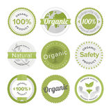 Natural organic product flat labels set. Flat label collection of 100% organic product and premium quality natural food badge elements. Flat design style modern Stock Image