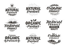 Natural, Organic product icons or symbols. Beautiful lettering design of packaging Royalty Free Stock Image