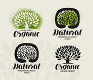 Natural, organic product label set. Tree with leaves icon or logo. Handwritten lettering, calligraphy vector Royalty Free Stock Images