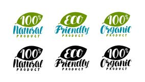 Natural, organic product logo or label. Eco friendly, bio icon. Lettering vector illustration. Isolated on white background Royalty Free Stock Images
