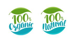 Natural, organic product logo or label. Handwritten lettering vector illustration. Isolated on white background Stock Photos