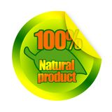 Natural organic product sticker. 100 percent natural pruduct sticker with green leaf illustration royalty free illustration