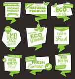 Natural organic products collection of labels. Natural organic products set of labels vector illustration
